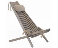 Ecofurn - Chilienne bois EcoChair (coussin offert) Pin Gris - Mobilier de Jardin