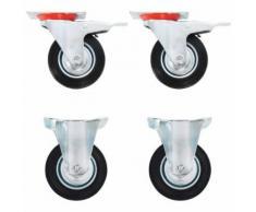 vidaXL 16x Roulettes Pivotantes Roues Fixes pour Chariot Roulant Etabli Meuble Etagère à Livre Tables de Travail Capacité de 80 kg 100 mm - Accessoires pour meubles