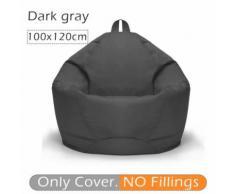 100 * 120CM 10 couleurs Élégant Flanelette Bean Bag Housse de canapé Gris foncé - Accessoires pour meubles