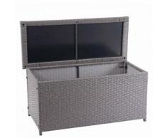 Coffre à coussins en polyrotin, HWC-D88, coffre jardin ~ Basic gris, 63x135x52 cm, 320l - Mobilier de Jardin