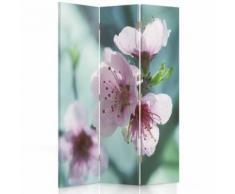 Feeby Paravent rotatif Diviseur de pièce Décoration intérieur 3 pans, Fleur de cerisier 110x180 cm - Objet à poser