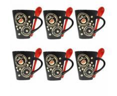Lot de 6 Mugs & Cuillères Café 28cl Rouge - vaisselle