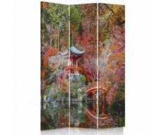 Feeby Paravent imprimé toile Décoration intérieur, 3 parties 2 faces, Jardin japonais 110x180 cm - Objet à poser