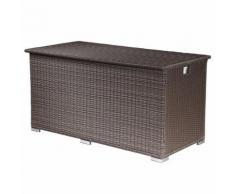 Coffre de rangement ALÉRIA XL en résine tressée chocolat - intérieur écru - Mobilier de Jardin