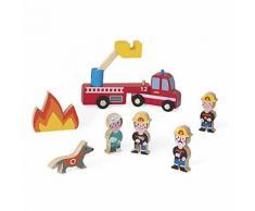 Figurines en bois Janod Mini Story Pompiers - Univers miniature