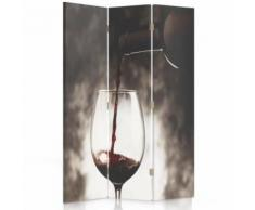Feeby Paravent rotatif Impression toile 3 panneaux Déco moderne, Verre de vin 110x180 cm - Objet à poser