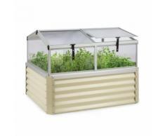 Blumfeldt High Grow Advanced Carré de potager surélevé avec toit - 540 litres - Acier beige - Jardinières et bacs