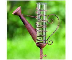 L'Héritier Du Temps - Pluviomètre à piquer tuteur plante décoration de jardin motif arrosoir en fer patiné et tube en verre 6,5x26x123cm - Station météo, thermomètre, pluviomètre