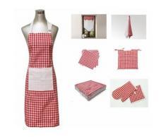 Tablier de cuisine avec poche vichy rouge - Linge de table