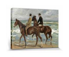 Max Liebermann Poster Reproduction Sur Toile, Tendue Sur Châssis - Deux Cavaliers Sur La Plage, 1901 (30x40 cm) - Décoration murale