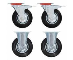 vidaXL 4x Roulettes Pivotantes avec Double Frein Roulette de Mobilier Roulette de Meuble Chariot Roulant Panier d'Achat Etagère à Livre Bibliothèque Capacité 80 kg 100 mm - Accessoires pour meubles