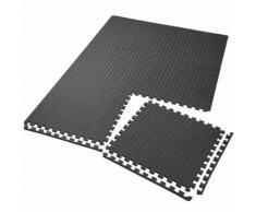 TECTAKE Tapis de Sol de Gym Sport avec 6 Dalles de Protection en Mousse 61 cm x 61 cm Noir - Gymnastique