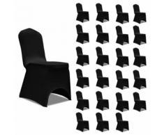vidaXL Housses élastiques de chaise Noir 24 pcs - Textile séjour