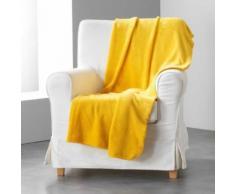 Jete de canape 180 x 220 cm coral uni louna Moutarde - Textile séjour