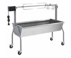 vidaXL Barbecue charbon de bois 4 roues tournebroche électrique - Grillade et barbecue