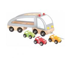 Camion multi bolides en bois a tirer - janod - jouet a tirer en bois - Jeux d'éveil