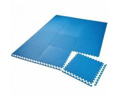 TECTAKE Tapis de Sol de Gym Sport avec 12 Dalles de Protection en Mousse 61 cm x 61 cm Bleu - Gymnastique
