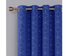 Deconovo Lot de 2 Rideaux Occultants Bleu Roi Isolant Thermique Rideaux a Oeillets Motif de Lossange Imprimés Argents pour Enfant Rideaux Chambre 140x175cm - Rideaux et stores