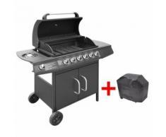 vidaXL Barbecue à gaz 6 + 1 zone de cuisson Noir - Cuisiner en extérieur