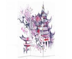 Feeby Paravent imprimé décoratif moderne, 3 panneaux, une face, Paysage japonais 110x150 cm - Objet à poser