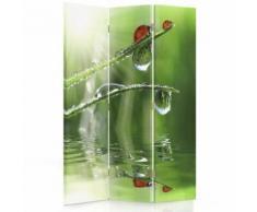 Feeby Paravent imprimé décoratif moderne, 3 panneaux, une face, Coccinelle sur herbe 110x150 cm - Objet à poser