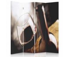 Feeby Décoration Paravent d'intérieur sur toile, 4 parties double face, Verre de vin rouge 145x180 cm - Objet à poser