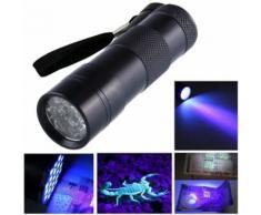 Mini Noir Aluminium UV Ultra Violet torche 12LED lampe de poche Blacklight Lumière - Torches
