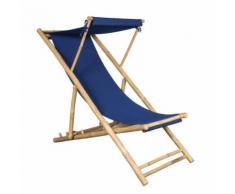 Chilienne en Bambou et Toile Bleue Indigo 155 X 66 cm, Toile détachable, Casquette Amovible - Mobilier de Jardin