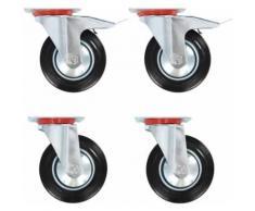 vidaXL 12x Roulettes Roues Fixes pour Chariot Roulant Roulettes Pivotantes Panier d'Achat Etagère à Livre Tables de Travail Capacité de 80 kg 100 mm - Accessoires pour meubles