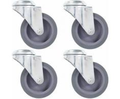 vidaXL 4x Roulettes Pivotantes à Trou de Boulon Roulette de Mobilier Meuble Chariot Roulant Etagère à Livre Capacité de 60 kg 100 mm - Accessoires pour meubles