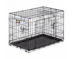 Ferplast Cage de transport pliable pour chiens DOG-INN 75, enclos pour chiots, transport en métal séparation inclus, porte double avec fermeture de sécurité, 77,4 x 48,5 x h 54,6 cm Noir - Paniers et mobilier pour chien