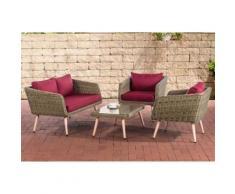 Salon de Jardin lounge Trosa 5 mm en polyrotin nature , 40 cm (Hellbraun)/Rouge rubis - Mobilier de Jardin