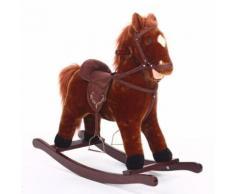Cheval à bascule avec selle - H. 73 cm - Marron - Jouets à bascule en bois