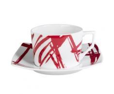 Table Passion - Tasse - Sous/Tasse Dejeuner 34 Cl Porcelaine Decor Expression Rouge ( Lot De 6 ) - Tasse et Mugs