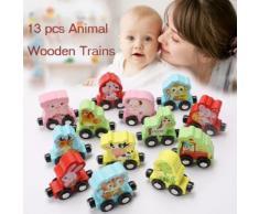 13pcs Enfants Bébé Train des animaux en bois coloré apprentissage jouet éducatif Pealer4040 - Jeux d'éveil