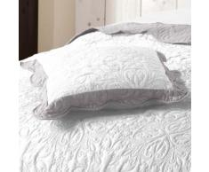 Housse de coussin +encart 45 x 45 cm microfibre bicolore emma Blanc/Gris - Linge de lit