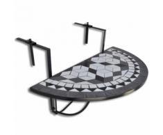 vidaXL Table suspendue de balcon Noir et blanc Mosaïque - Mobilier de Jardin