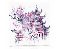 Feeby Diviseur de pièce 4 pans double face Paravent d'intérieur en toile imprimée, Paysage japonais 145x150 cm - Objet à poser