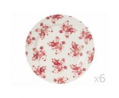 Assiette plate en faïence motif floral D26cm bordeaux et blanc - Lot de 6 LILY ROSE - vaisselle
