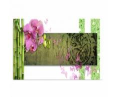 Tableau sur toile Cadre décoratif Image Art Canevas Orchidée Bambous 120x80 - Décoration murale