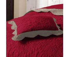 Housse de coussin +encart 45 x 45 cm microfibre bicolore emma Rouge/Taupe - Linge de lit