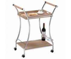 Chariot de service RHODOS chariot à thé desserte à roulettes poignée plateau amovible et étagère porte-bouteilles décor chêne sonoma - Tables d'appoint