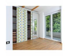 Sticker pour porte de dressing Home - L. 67 x l. 250 cm - Blanc multicolore - Décoration murale