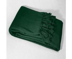 Jete de canape a franges 220 x 240 cm coton tisse lana Vert - Textile séjour