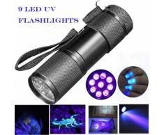 Blacklight détection 9 LED UV Ultra Violet Mini Lampe torche Lumière - Torches