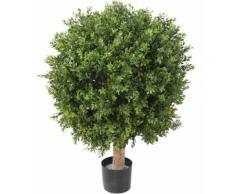 Plante artificielle haute gamme Spécial extérieur / Buis boule UV artificiel, coloris vert - Dim : H.82 x D.62 cm - Plantes artificielles