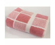 LINANDELLE - Serviette de toilette éponge bouclette carreaux CELESTE Rose pâle 50x100 cm - Linge de bain