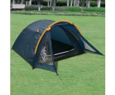 Anself Tente pour 3 personnes (80 + 200) x 210 x 120 cm Bleu - Matériels de camping et randonnée
