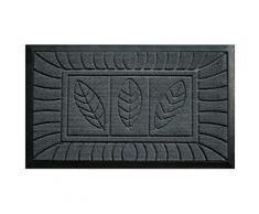 Tapis déco 1740047 tapis d'entrée feuilles polypropylène/cao gris 75 x 45 cm - Accessoires de rangement