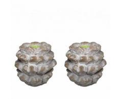 L'Héritier Du Temps - Set de 2 pommes de pin artichaut bougeoir en terre cuite 10x11x11cm - Objet à poser